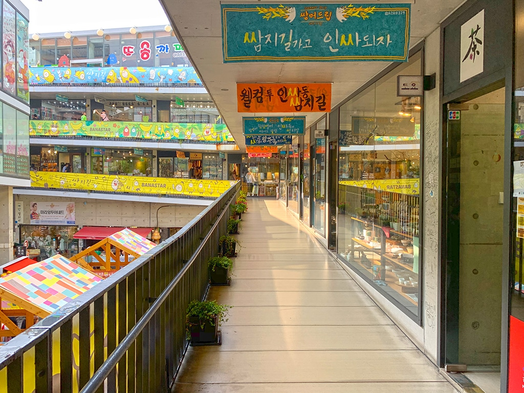 Stores at Ssamzie market in Insadong