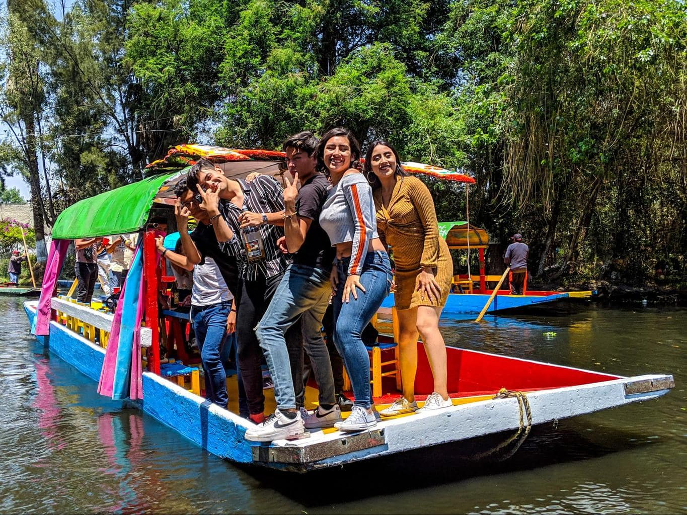 Students enjoying a day out in Xochimilco