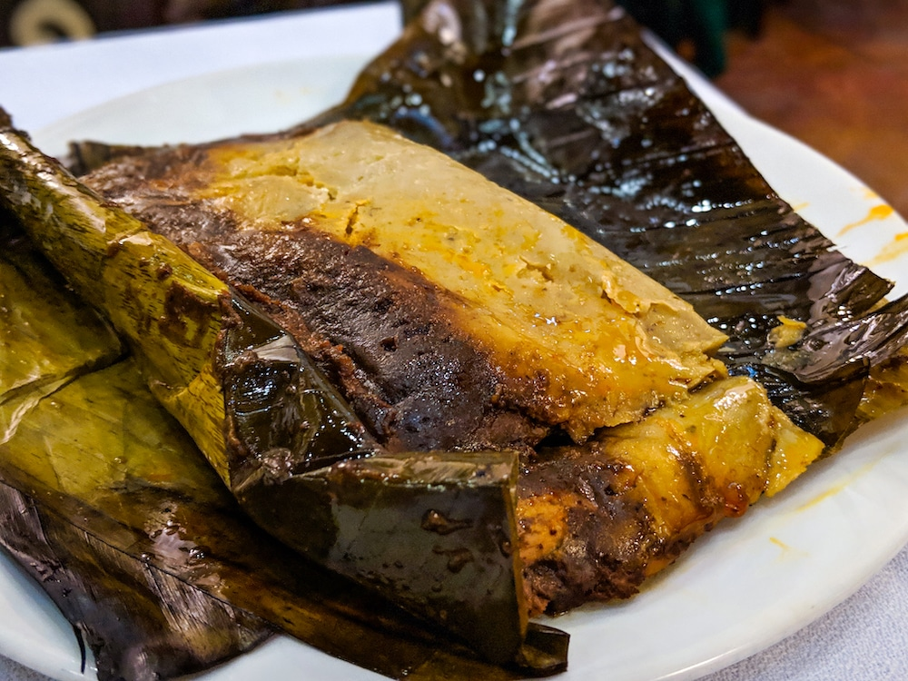 Tamales are probably one of the healthiest options because they are steamed