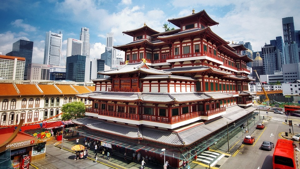 Gorgeous Tang dynasty architecture at the Buddha Tooth Relic Temple