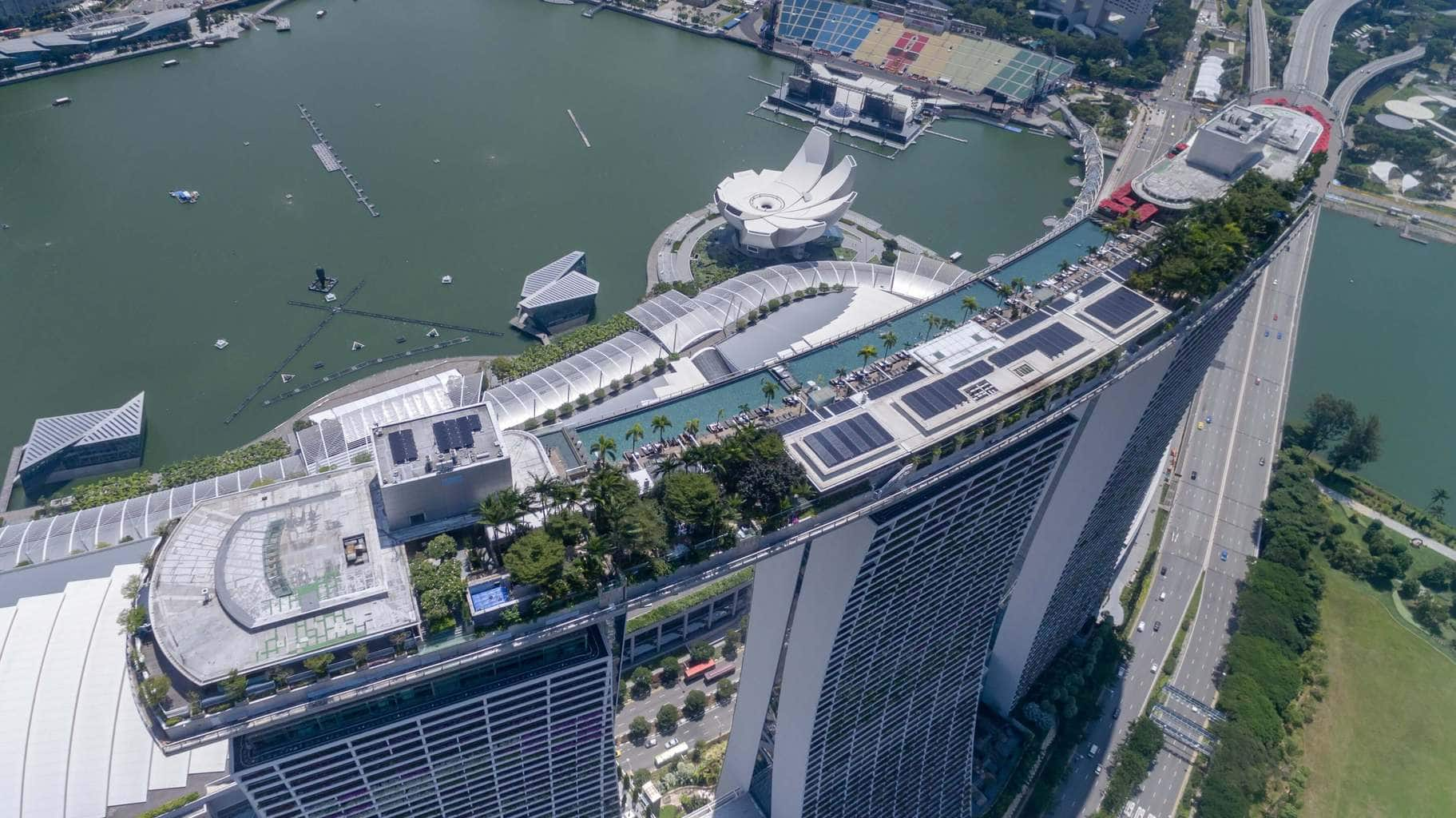 Aerial of the roof top pool Marina Bay Sands Hotel