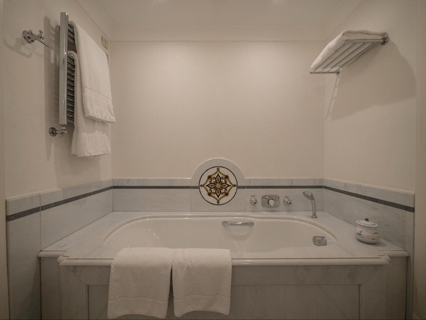 Marble bathtub of the Presidential Suite at Belmond Villa Sant'Andrea