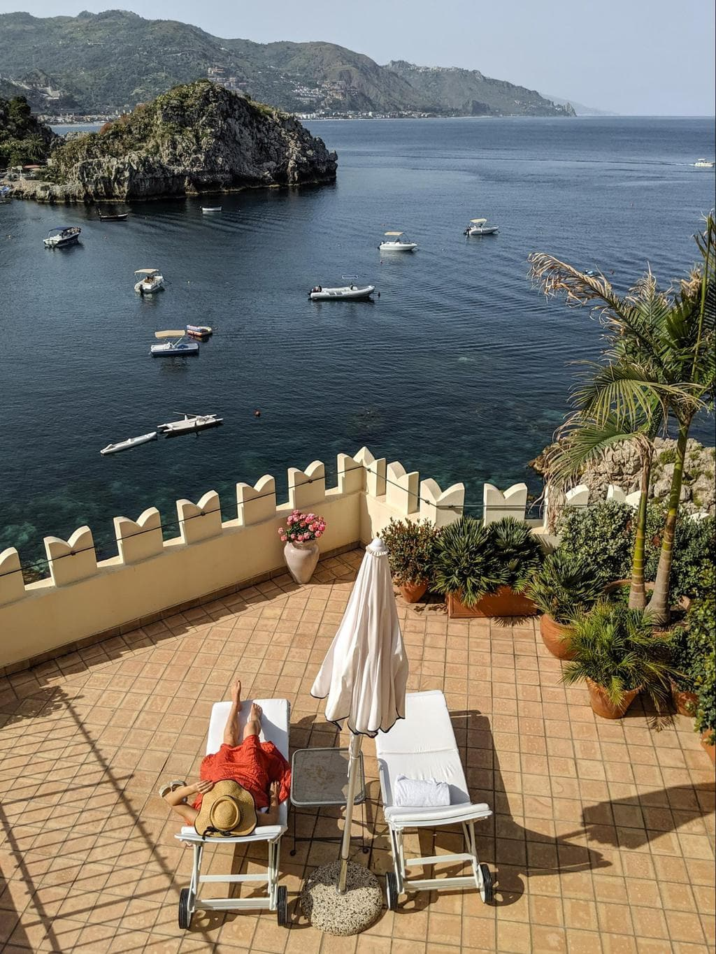 The terrace at the Belmond Villa Sant'Andrea Presidential Suite