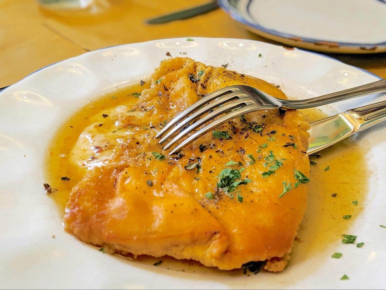 Baked caciocavallo cheese