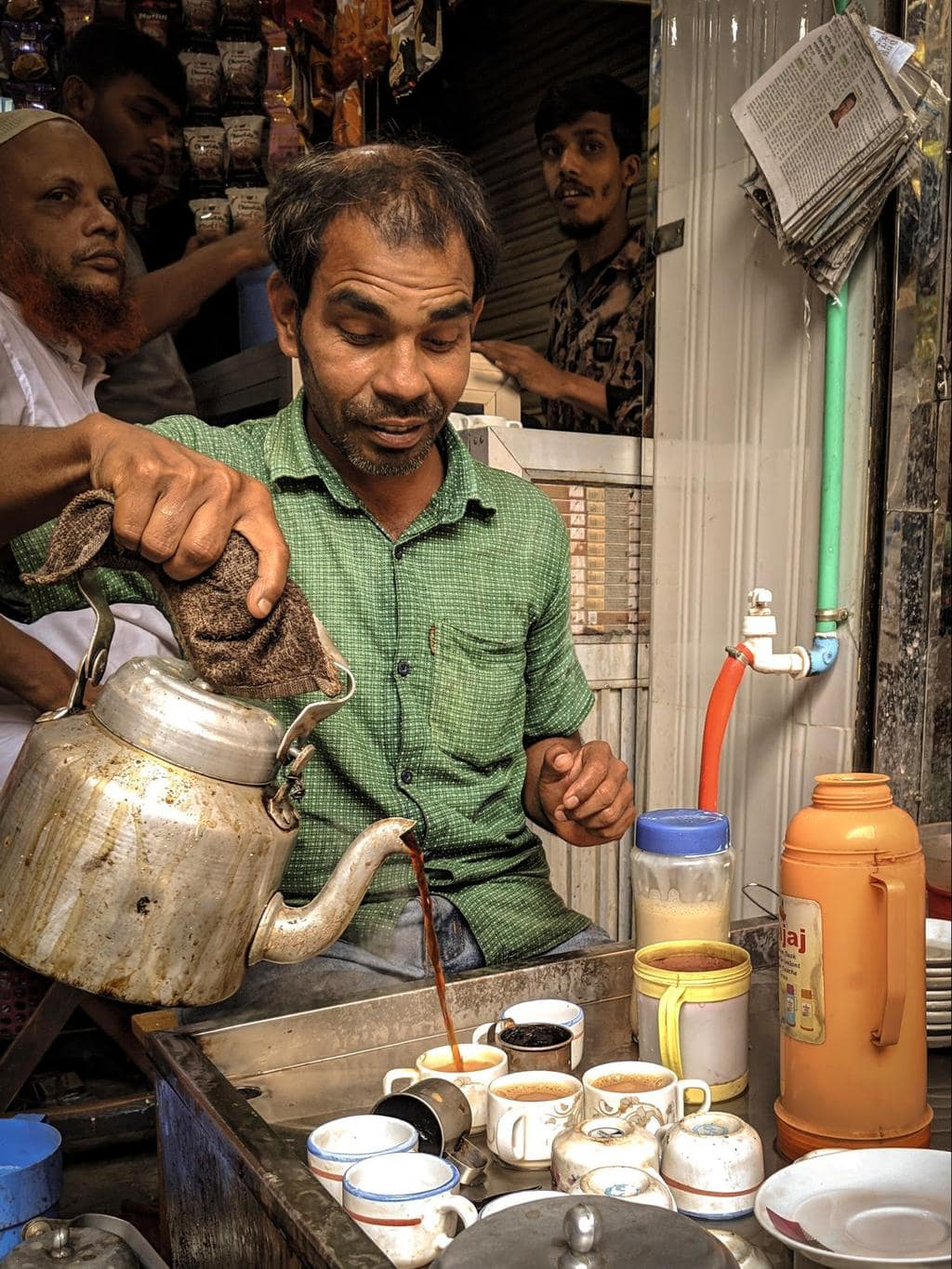 Cha is sold in street stalls all throughout Dhaka