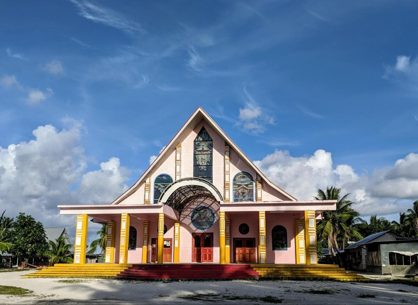 Colorful churches in Kiribati