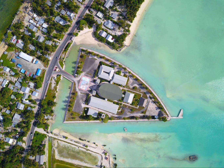 Drone shot of Kiribati Parliament House