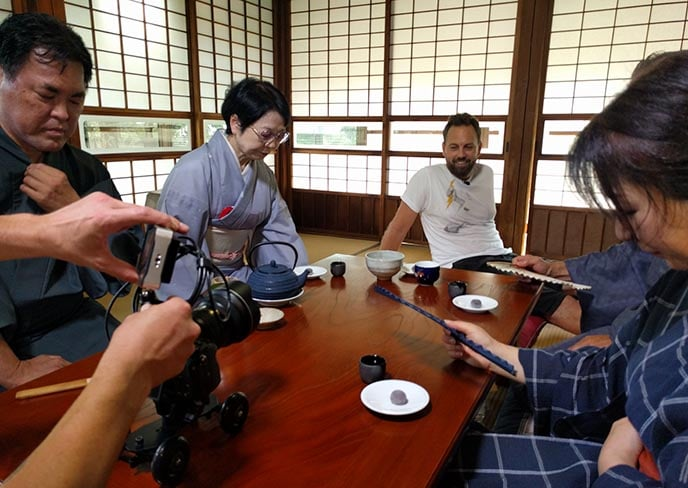 Filming a tea ceremony
