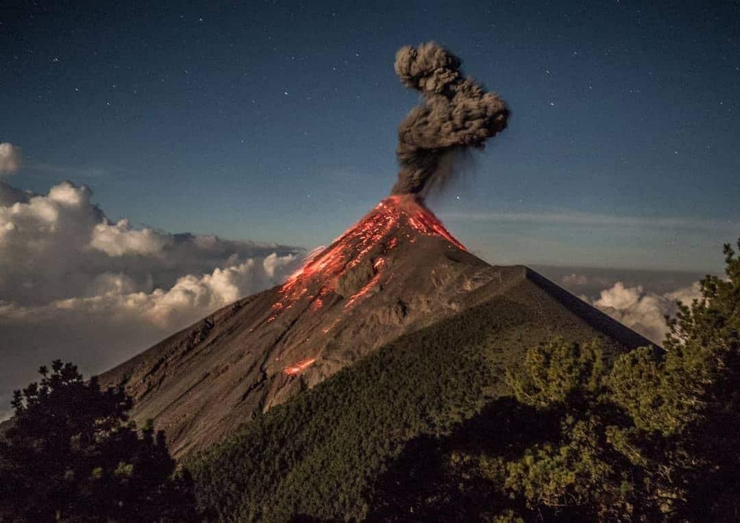 Fuego Volcano erupting as seen from Acatenango Volcano