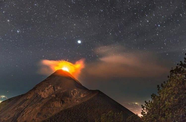 Fuego Volcano erupting from Acatenango Volcano