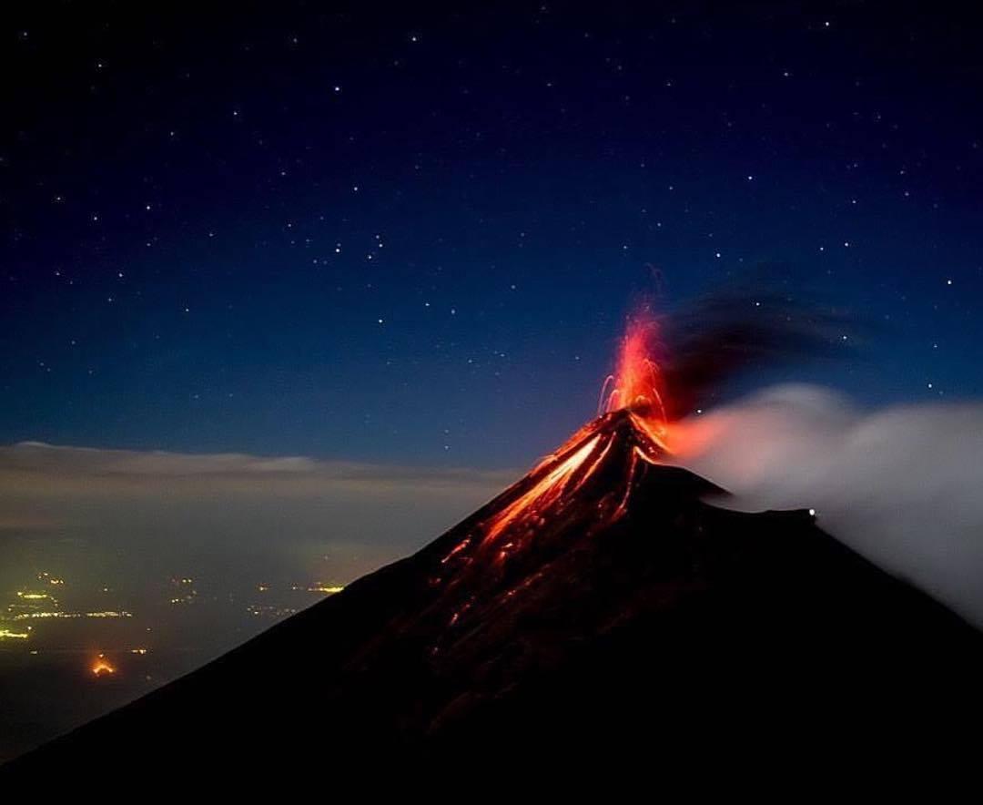 Fuego Volcano eruptions from Acatenango Volcano