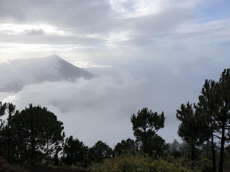 Fuego Volcano hiding behind the clouds