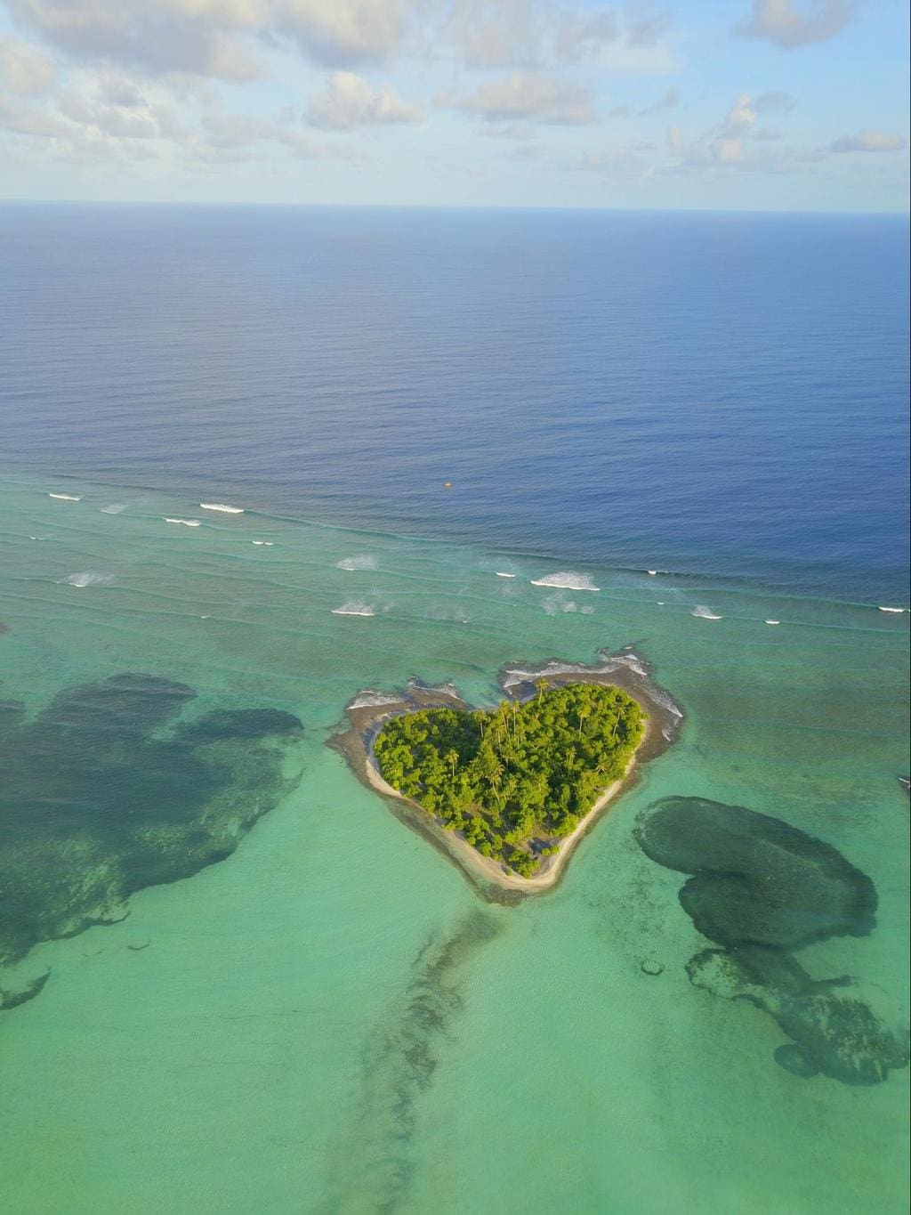 Heart-shaped island in Kiribati