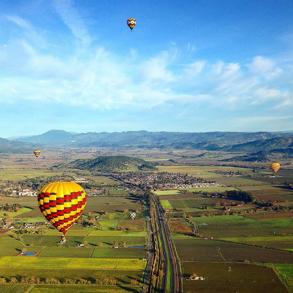 Hot air balloon in Napa Valley
