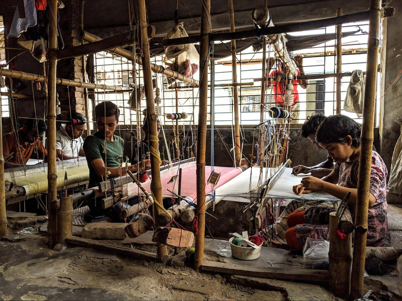 Indian pit treadle looms in South Rupshi