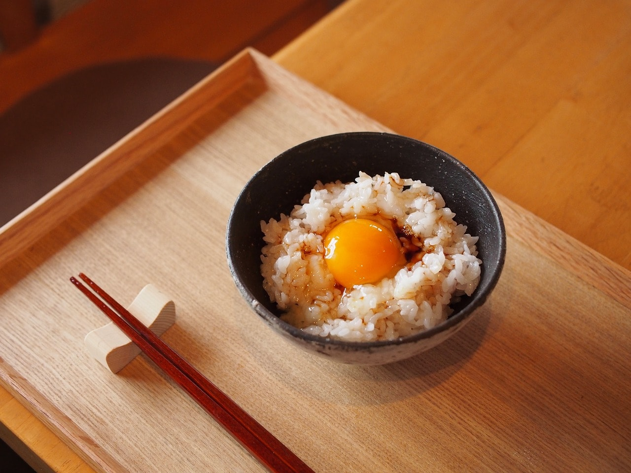 Japanese breakfast rice and egg