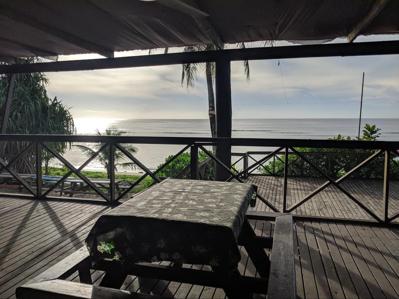 Jules on the deck sunsets in Nauru