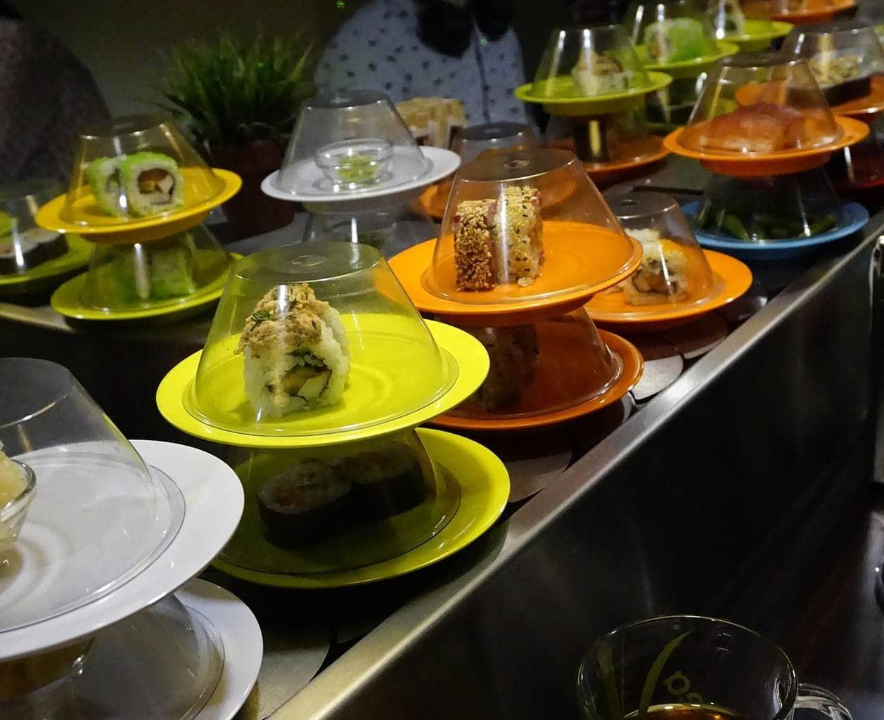 Kaiten sushi or conveyor belt sushi