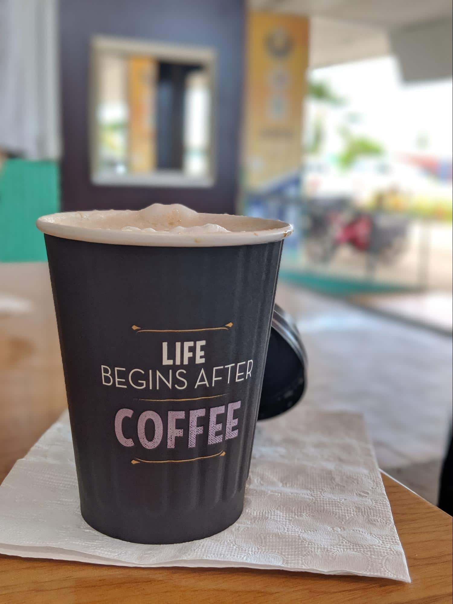 Latte from the Digicel container cafe