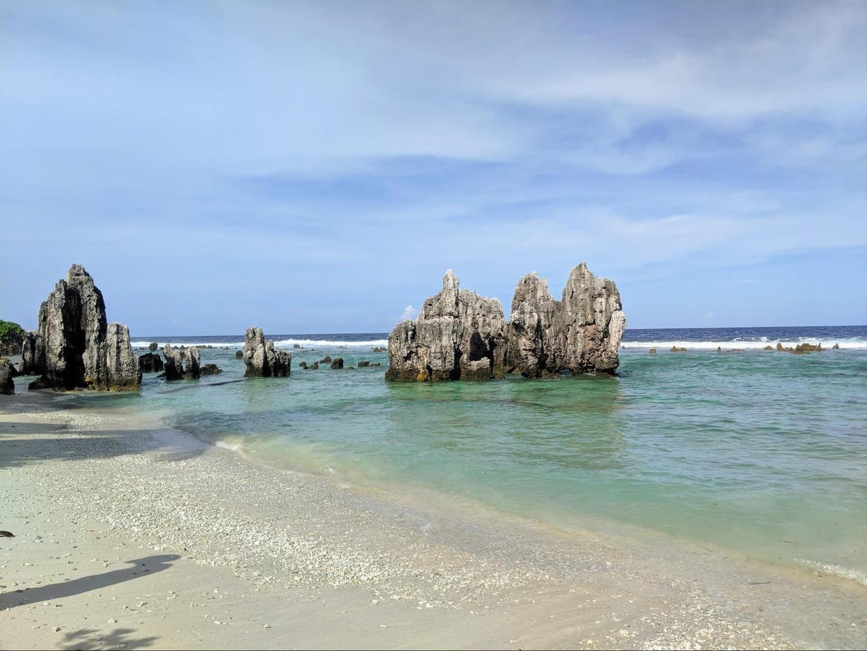 Limestone formations on Nauru beaches