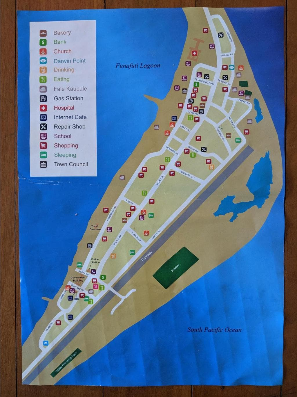 Map of Vaiaku, Funafuti's town center