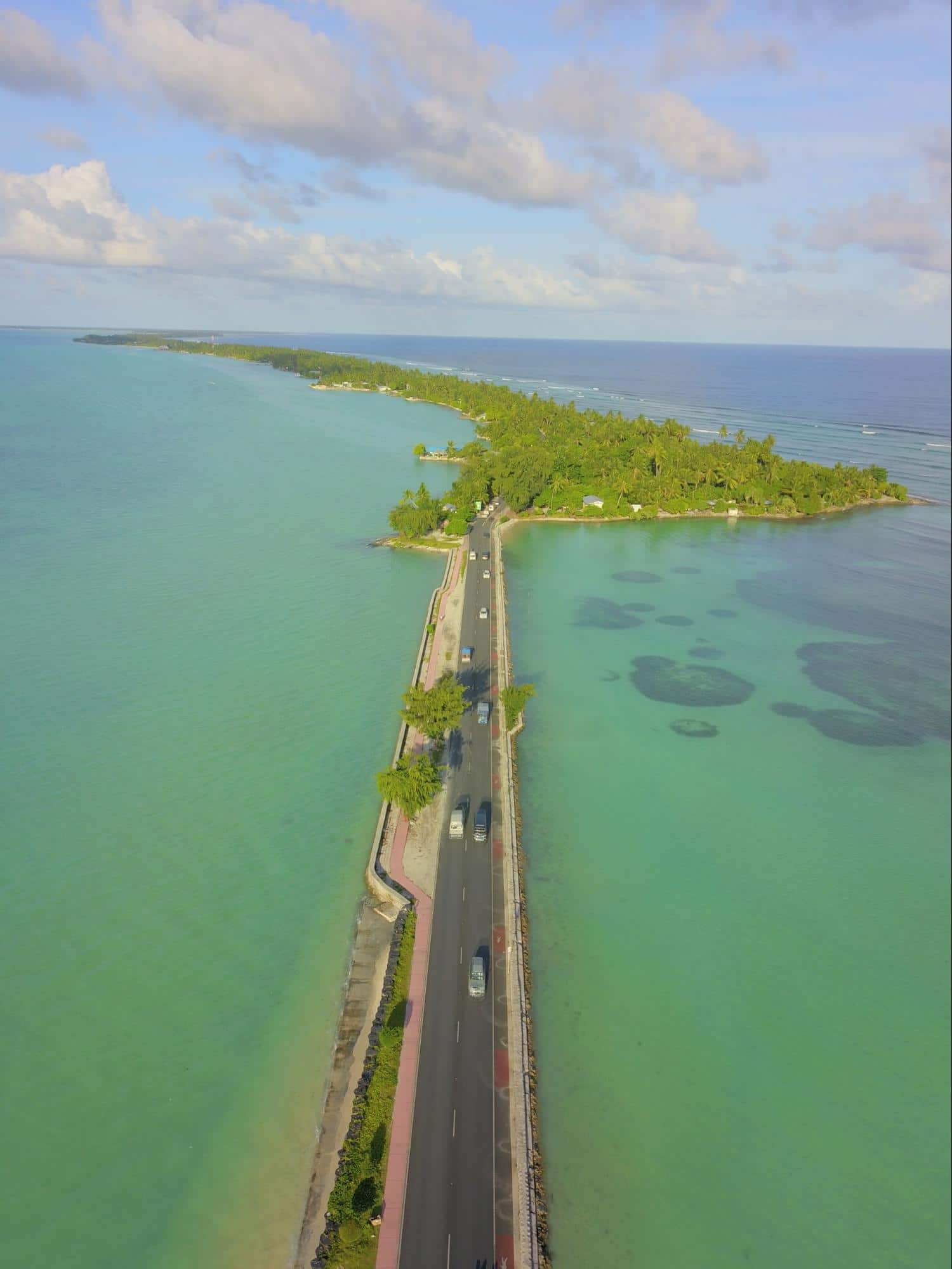 One of the recently constructed causeways in Kiribati