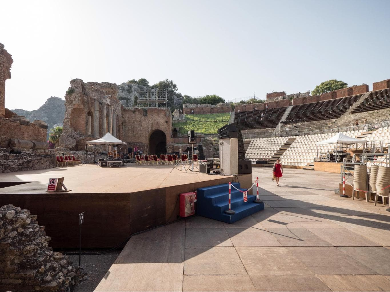Taormina's Ancient Greek Theatre stage getting ready for summer performances 02