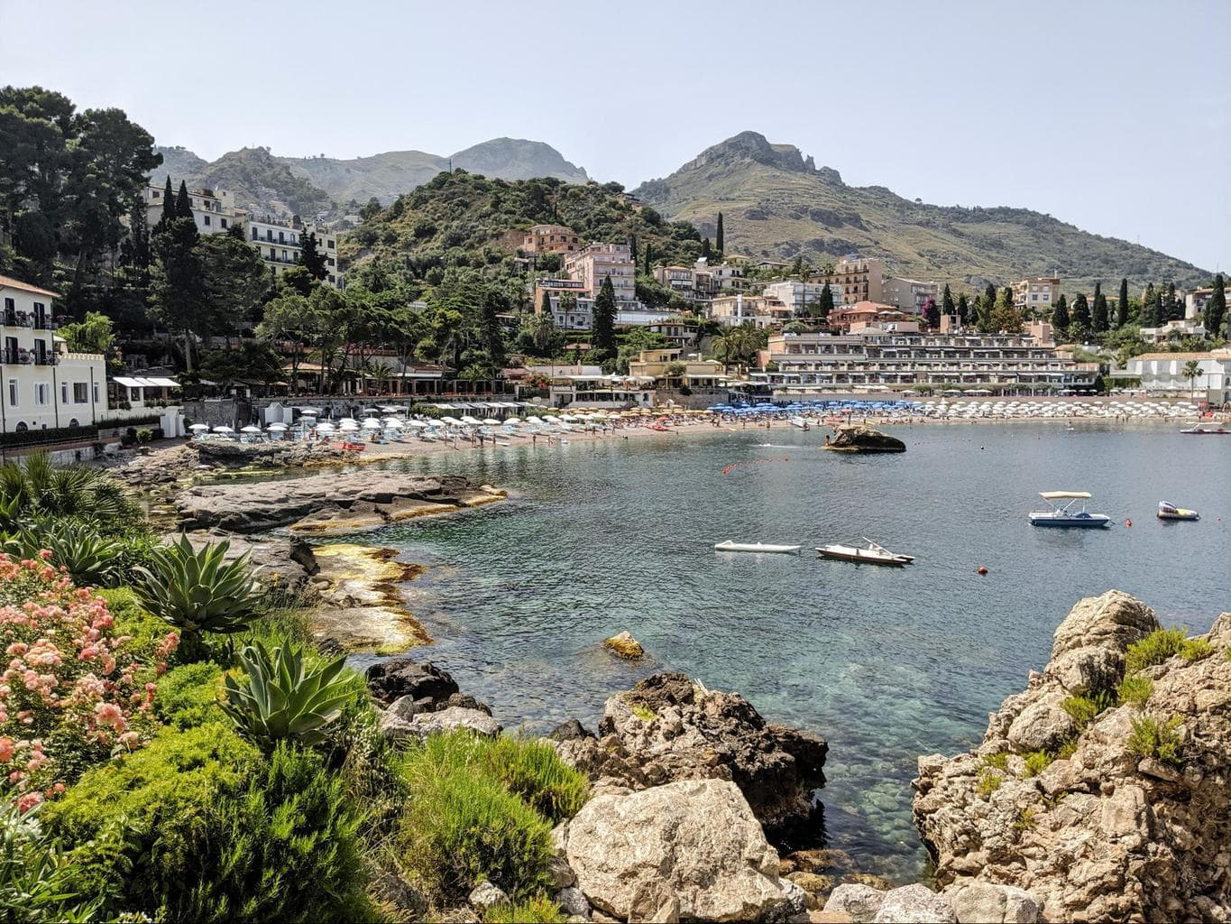 Taormina Beach and Mazzaro Bay