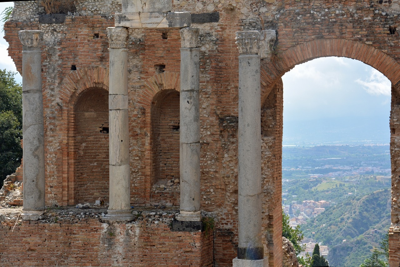 The back of the stage of Taormina's Ancient Greek Theatre