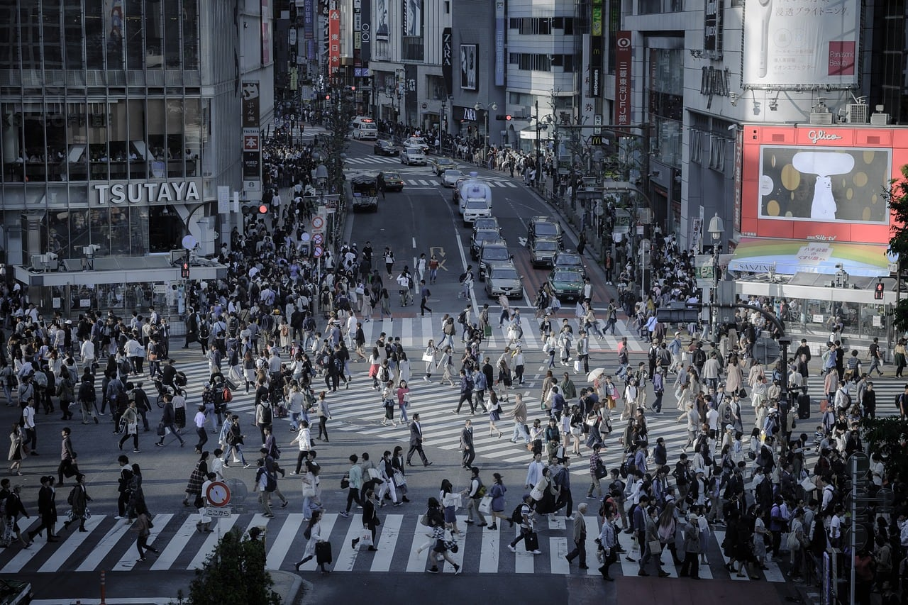 The infamous Shibuya crossing