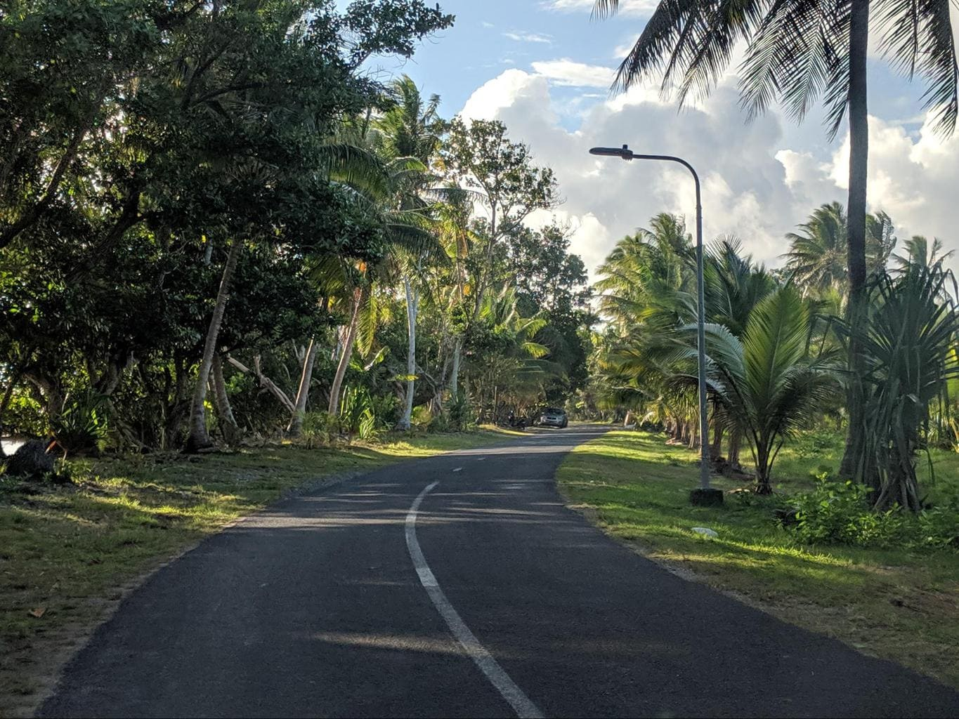 The only paved road in Tuvalu