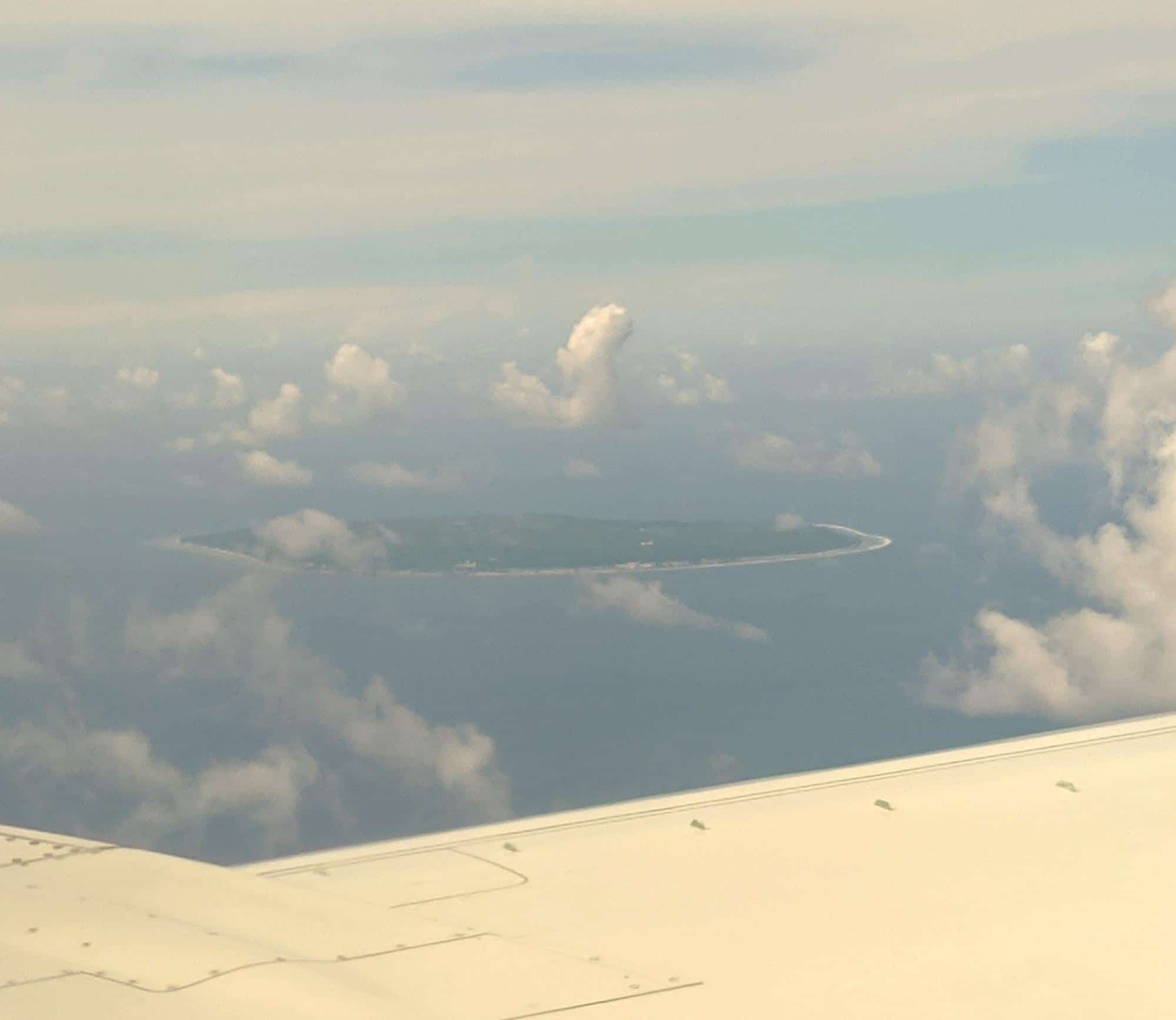 The tiny nation of Nauru from the plane