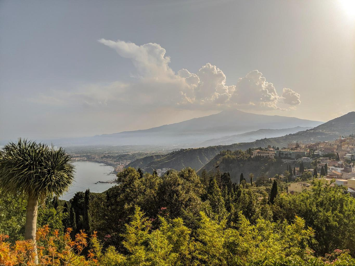 The views from the back of the Ancient Greek Theatre of Taormina