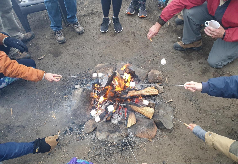 Toasting marshmallows at Acatenango Base Camp