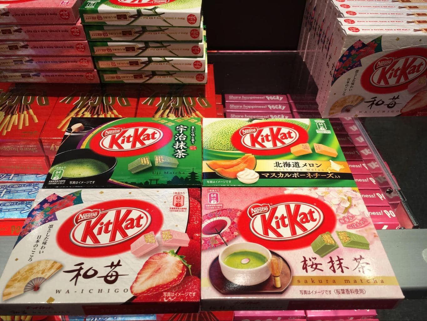 Interesting flavors of Pocky and Kit Kat