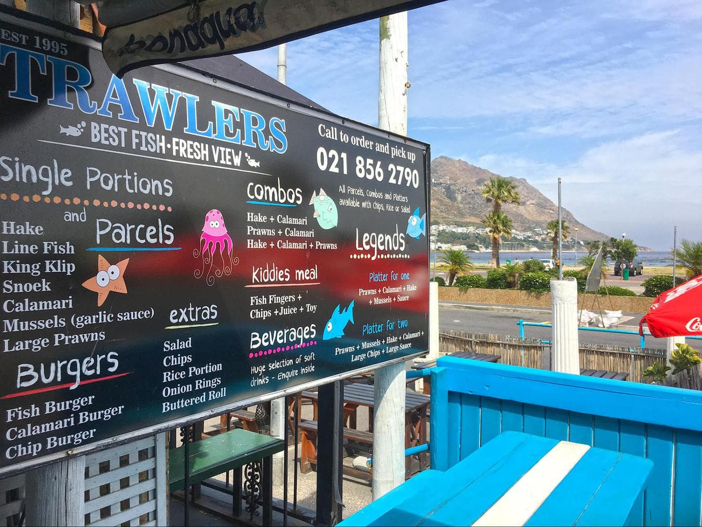A typical menu at a fish and chips shop in Cape Town
