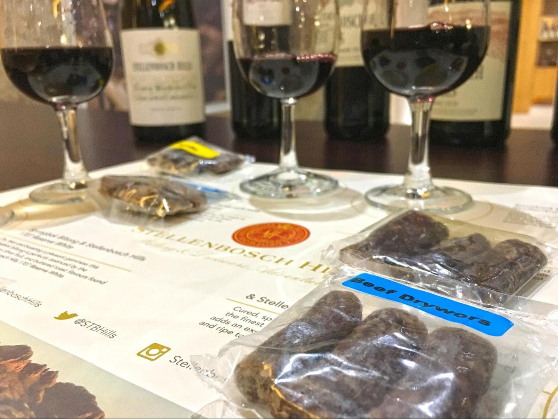 Biltong and wine pairing at Stellenbosch Hills