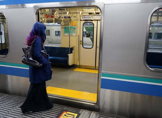 Boarding the subway in Japan