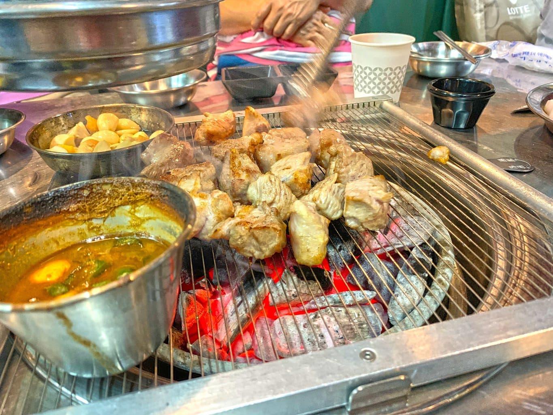 Cooking Samgyeopsal