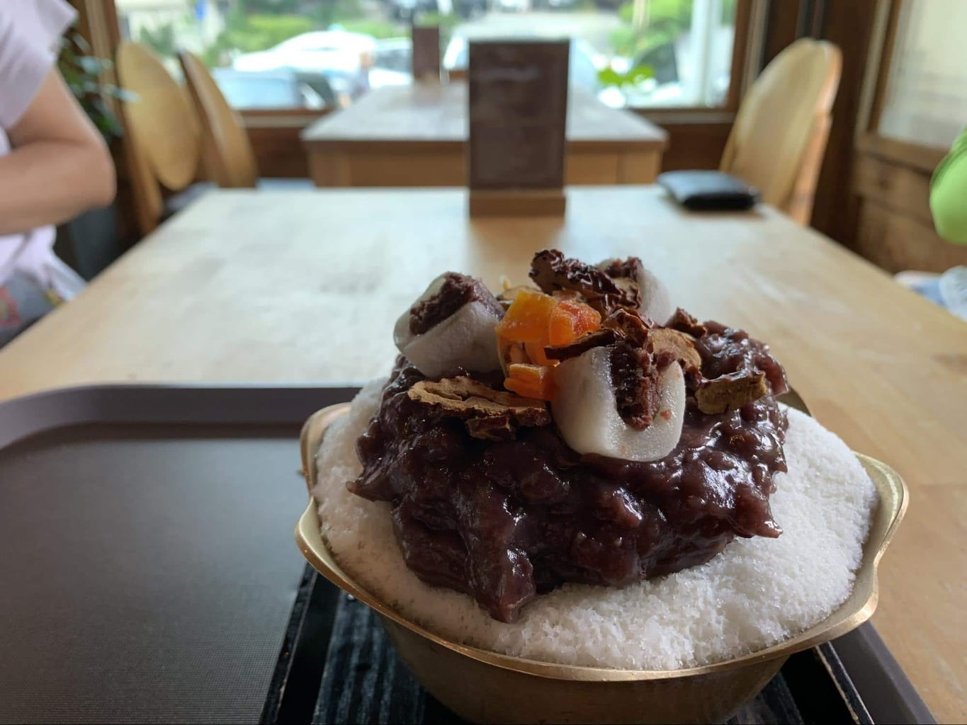 Delicious patbingsu or red bean shaved ice