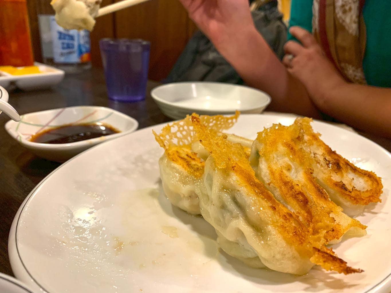 Famed Jonny Dumpling - half grilled half fried