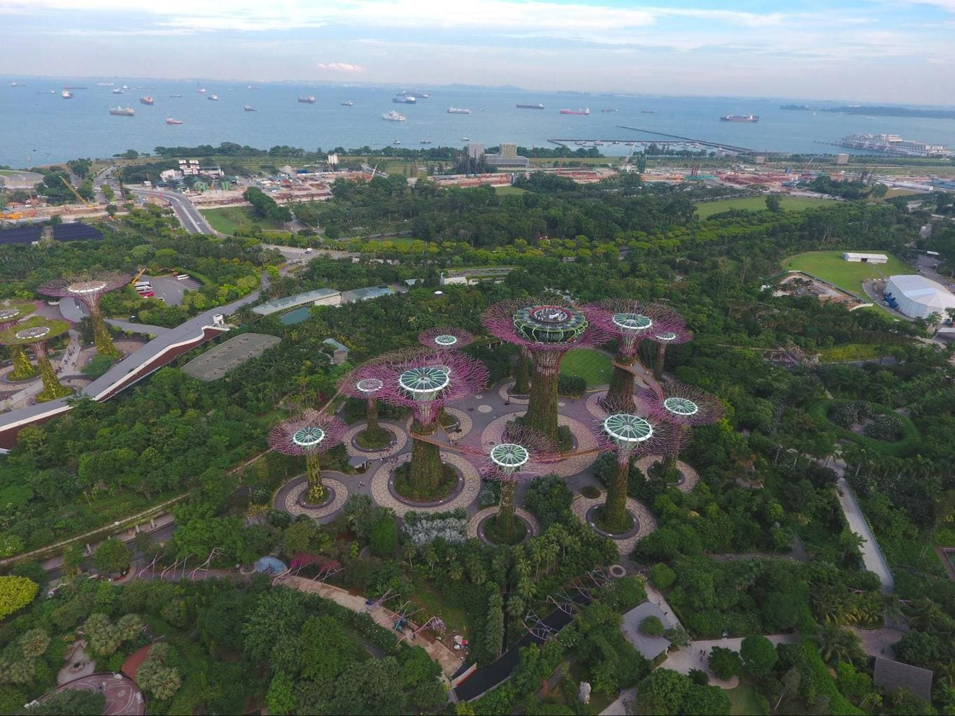 Gardens by the Bay drone shot