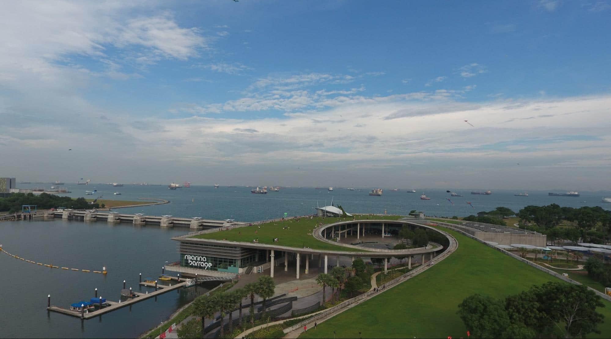 Marina Barrage drone picture