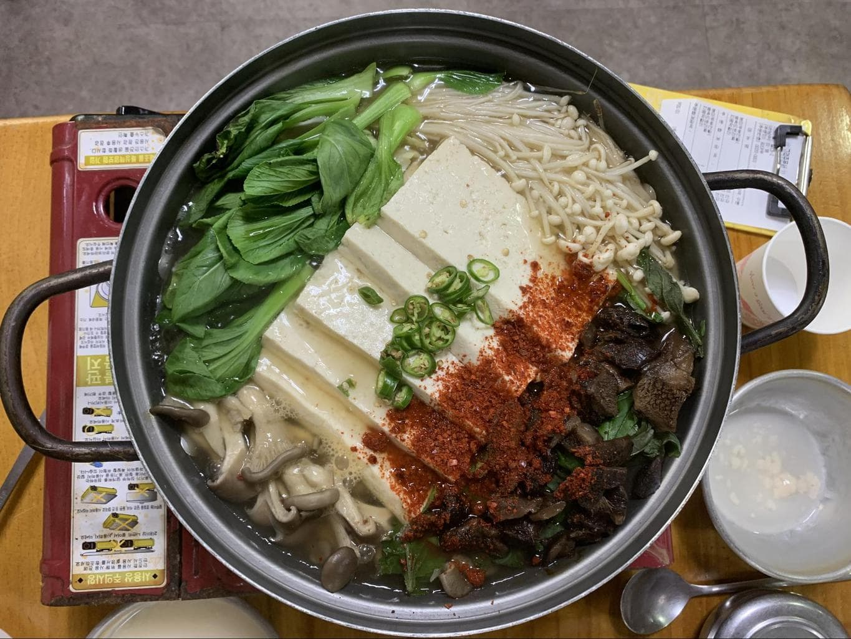 Mushroom and tofu jeongol