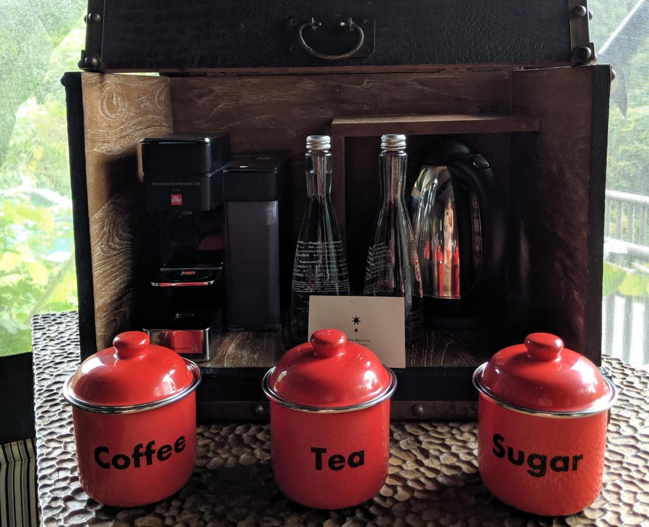 Refreshment trunk, coffee and tea station at Capella Ubud