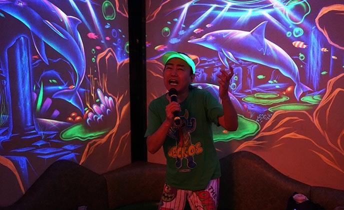 Singing karaoke in Shibuya