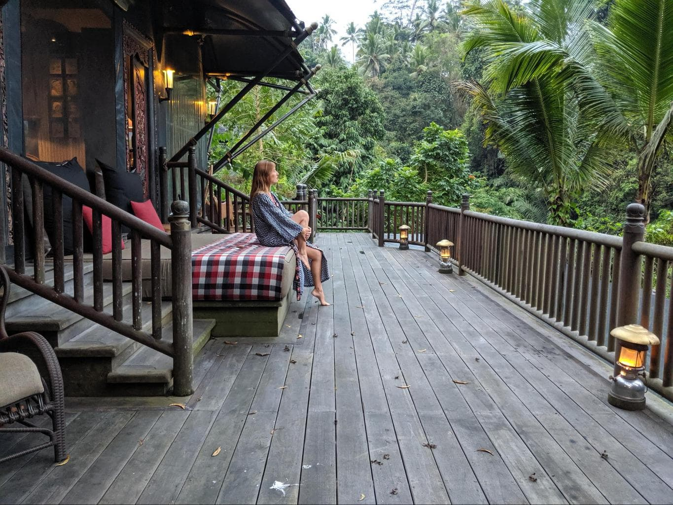 Sitting at the tents at the Capella Ubud