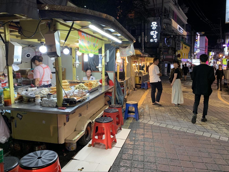 Street food stall in Hongdae