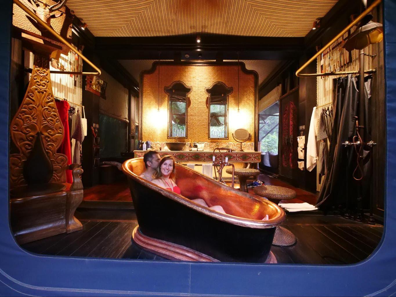 The bathroom inside Capella Ubud's tents 03