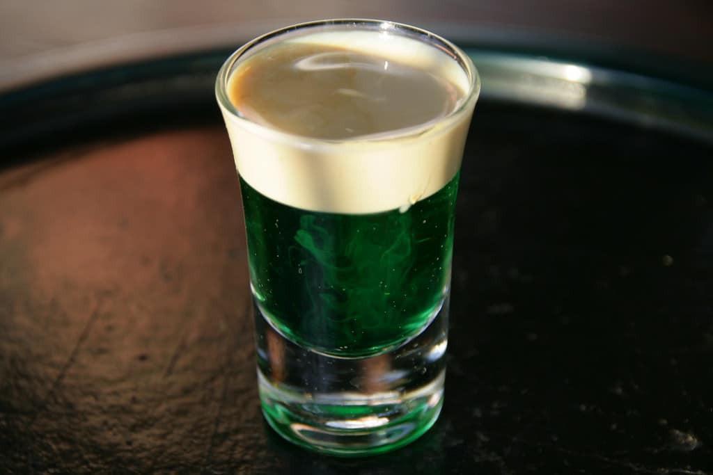 The infamous Sprinbokkie shot with creme de menthe liqueur and Amarula